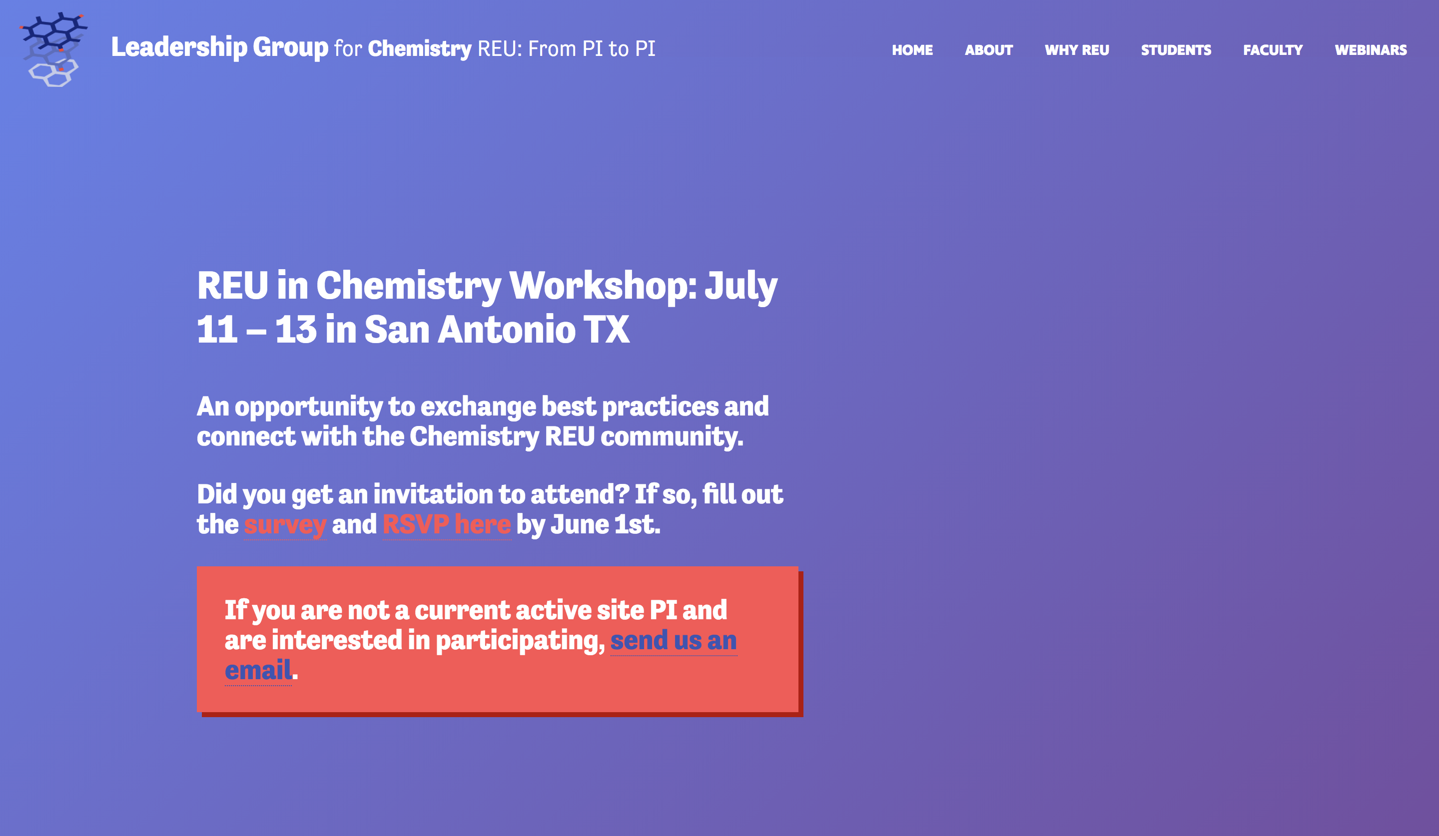 The NSF REU Leadership Group website takes advantage of gradients and imagery to draw in users.